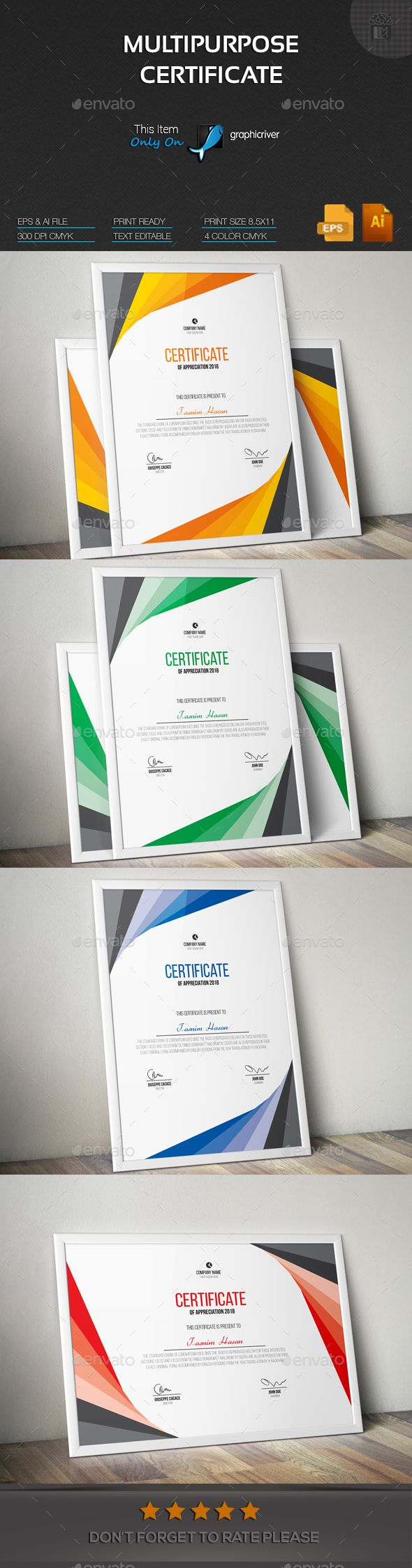 Multipurpose Certificate - #Certificates Stationery Download here: https://graphicriver.net/item/multipurpose-certificate/19552195?ref=alena994