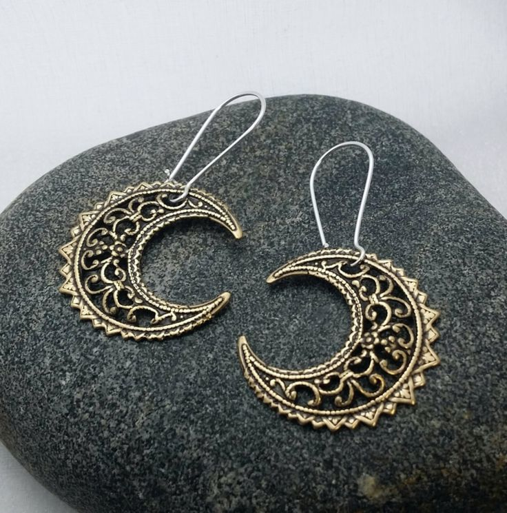 Moon Earrings - filigree crescent moon dangles - paisley moons - bronze crescent moon earrings - bohemian earrings - gifts under 15 by thewingedscarab on Etsy