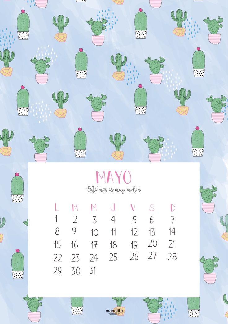 Descargable del Calendario de Mayo 2017 por Manolita Wonder