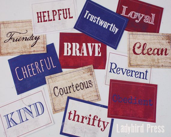 Printable Scout Law name cards Boy Scout Law by LadybirdPress