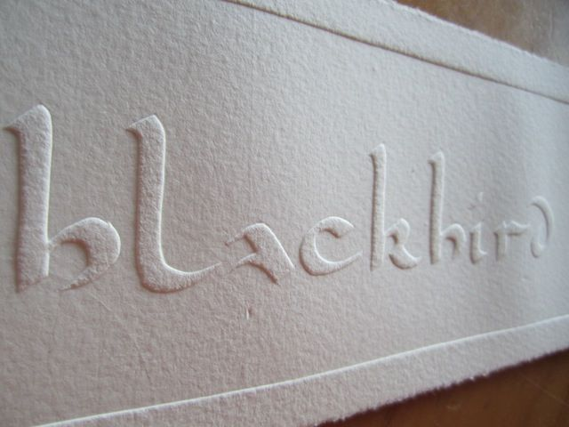 embossing a book cover by Fiona Dempster