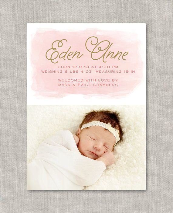 Watercolor Baby Girl Birth Announcement