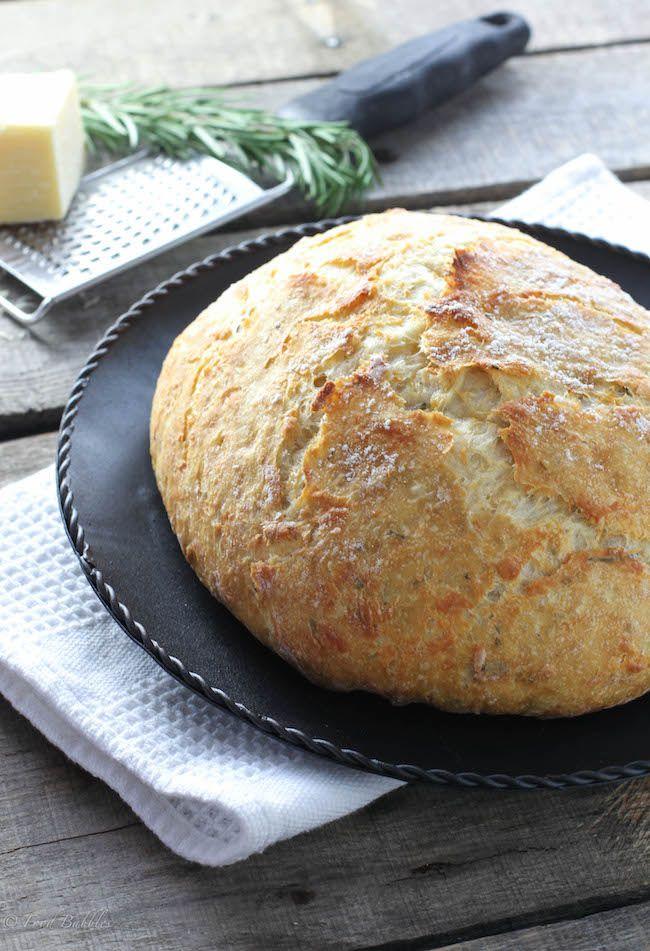 Crusty No Knead Bread with Rosemary, Lemon & Gruyere