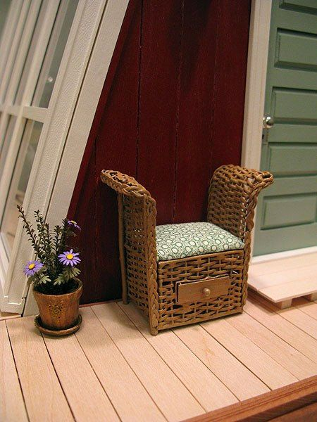 Faux wicker chair with upholstered cushion - dollhouse miniature via Etsy