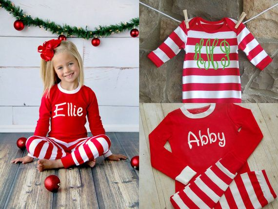 Free Shipping! Personalized Christmas Pajamas - Embroidered Monogram Christmas Pj's - Red and White Stripe Christmas Pajamas for the family