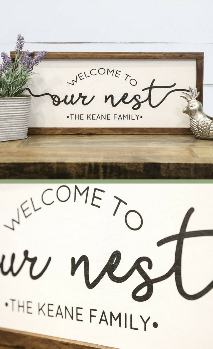Personalized Welcome To Our Nest Framed Sign Personalized Farmhouse Sign Entryway Decor House Warming Gifts
