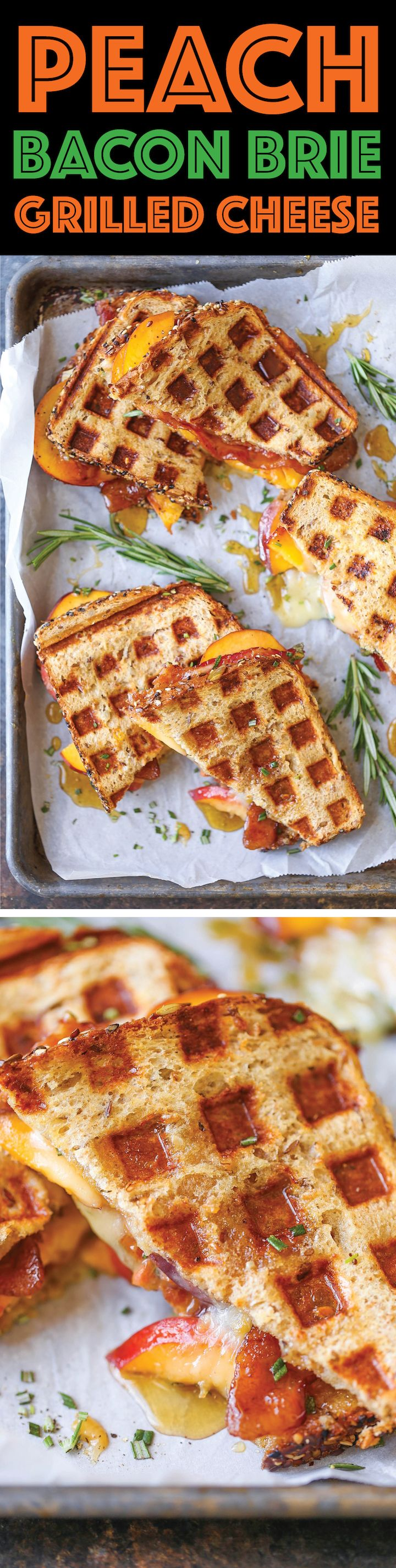 Peach Bacon Brie Grilled Cheese - Fresh peaches, peach preserves, crisp bacon…