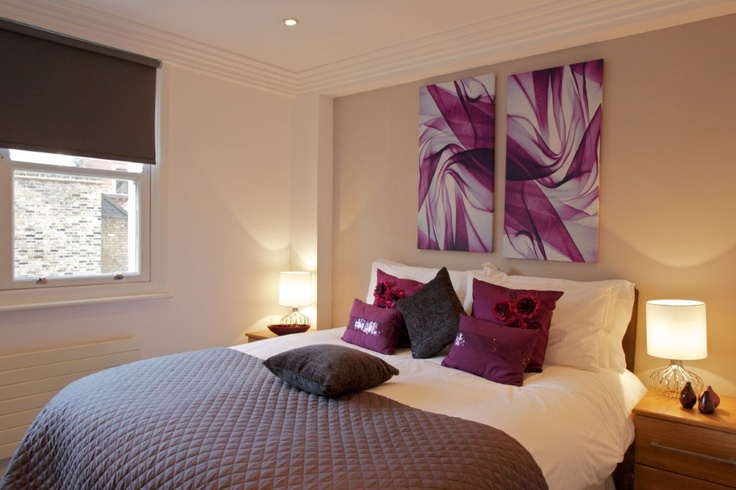 Purple bedroom at Covent Garden.