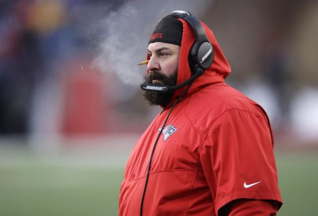 Bearded, bright and backward-hat-wearing Matt Patricia is a hot head coaching candidate