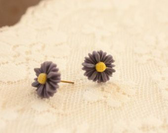 Cute Daisy Resin Flower Earrings Studs 12mm