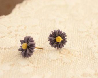 Cute Daisy Resin Flower Earrings Studs 12mm