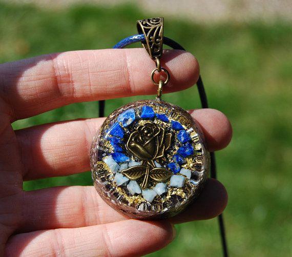 Real Larimar Lapis Lazuli Orgonite Pendant Rose 24k Gold Unique Jewelry Crystal Necklace Healing Orgonite