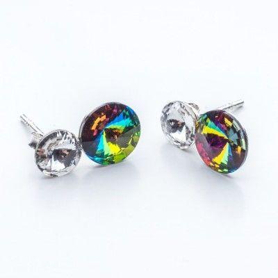 Swarovski Rivoli Earrings 6/8mm Crystal + Vitrail Medium  Dimensions: length:1,5cm stone size: 6mm and 8mm Weight ~ 1,60g ( 1 pair ) Metal : sterling silver ( AG-925) Stones: Swarovski Elements 1122 SS29 ( 6mm ) and SS39 ( 8mm )  Colour: Crystal + Vitrail Medium 1 package = 1 pair