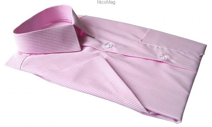 Koszula różowa pasek, krótki rękaw-chłopiec