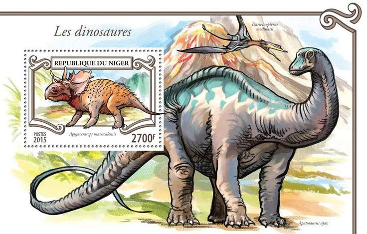 Post stamp Niger NIG 15307 bDinosaurs (Agujaceratops mariscalensis)