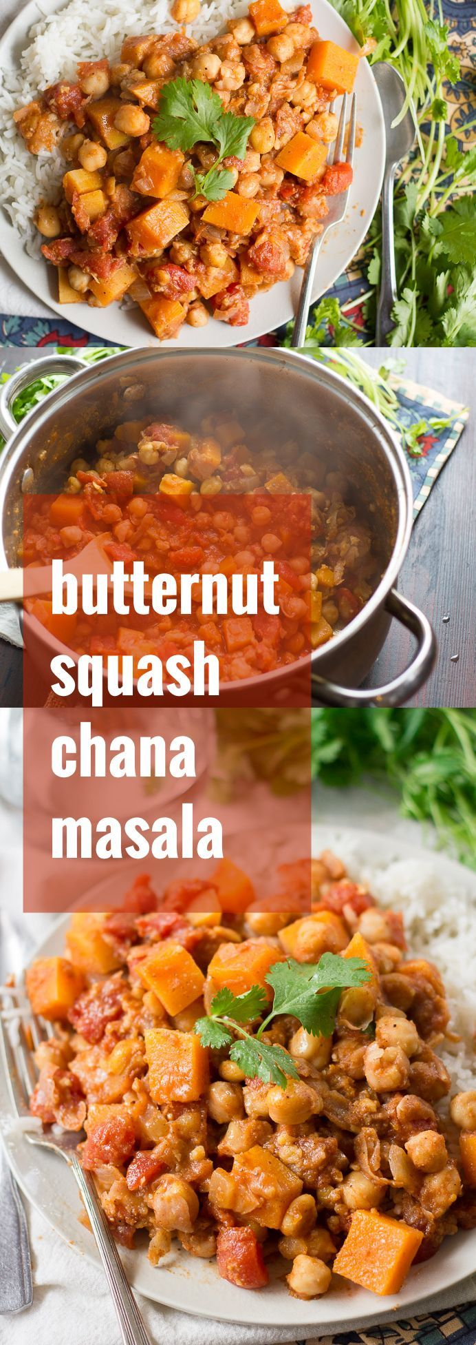 Butternut squash chunks add a hint of sweetness to this spicy and comforting chana masala. Serve it with rice or naan for a hearty and healthy vegan meal.