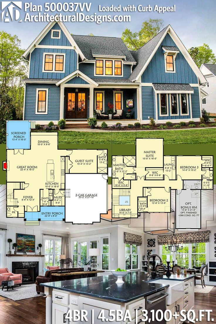 Architectural Designs Exclusive House Plan 500037VV Has Gives You 4 Beds,  4.5 Baths And 3,100