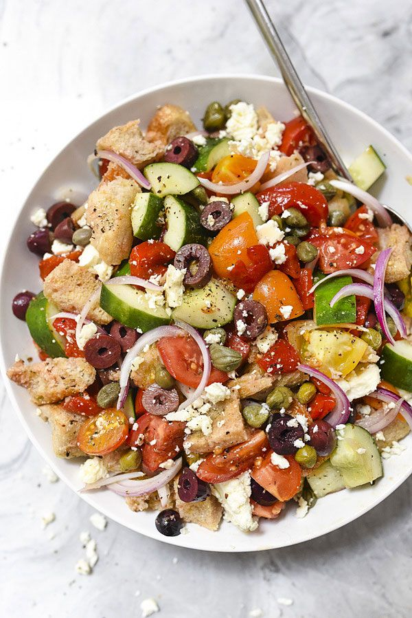Greek-Style Panzanella Bread Salad Recipe from @foodiecrush
