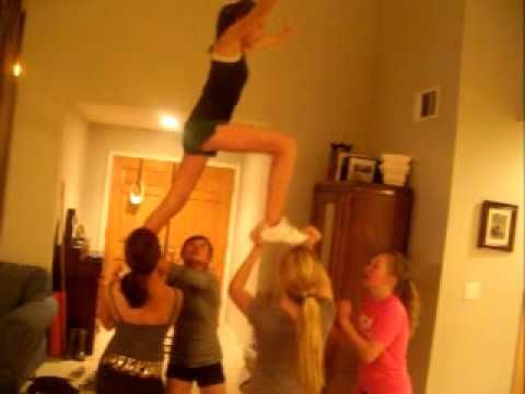 cool cheer stunt . Totally going to try this!!! 