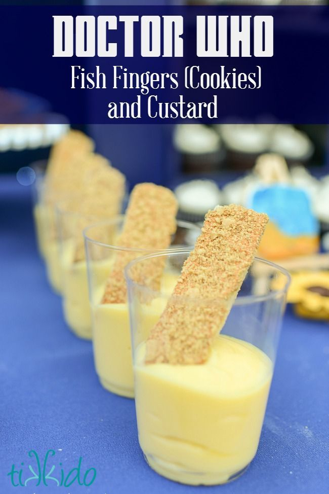 Doctor Who Party Fish Fingers (Cookies) and Custard Recipe | Tikkido.com