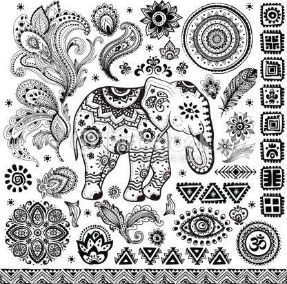 Arte vectorial : Tribal vintage ethnic pattern set
