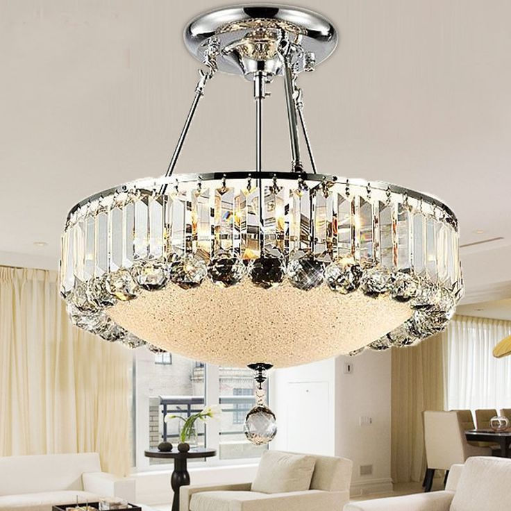 Modern Crystal Ceiling Light Glass Shade Chrome Finish Pendant Lamp  Chandelier