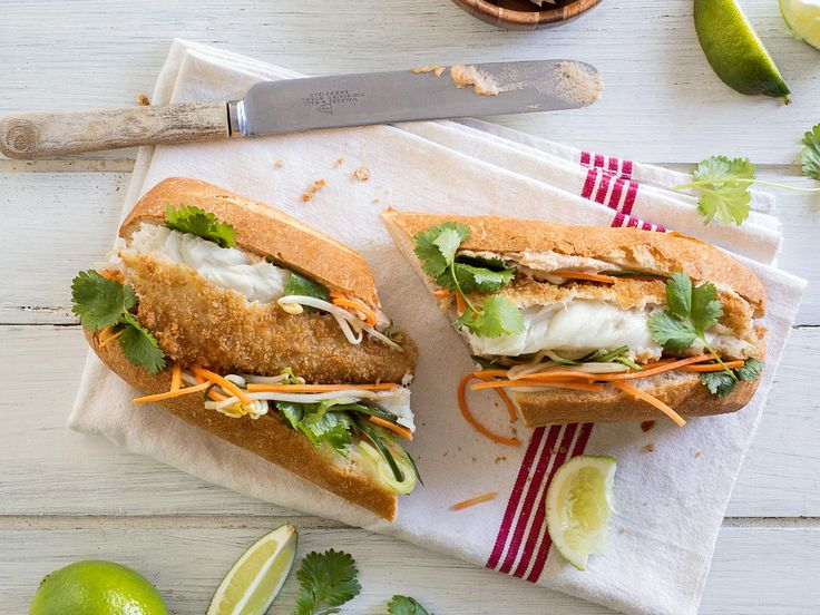 This recipe for Vietnamese bahn me combines wholemeal-battered Sealord hoki with cucumber, sprouts and coriander for a light and lovely sandwich