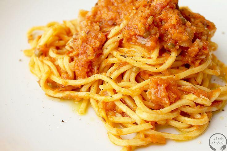 サフラン風味のマッケローニ・アッラ・キタッラとレンズ豆のラグー - 手打ちパスタ教室「コトコトパスタ」