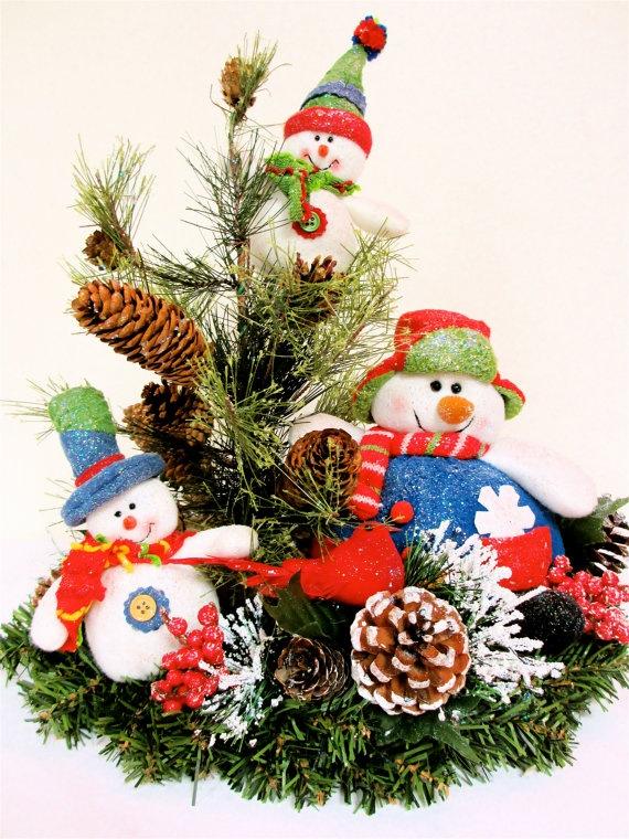 Sold snowman christmas centerpiece arrangement by