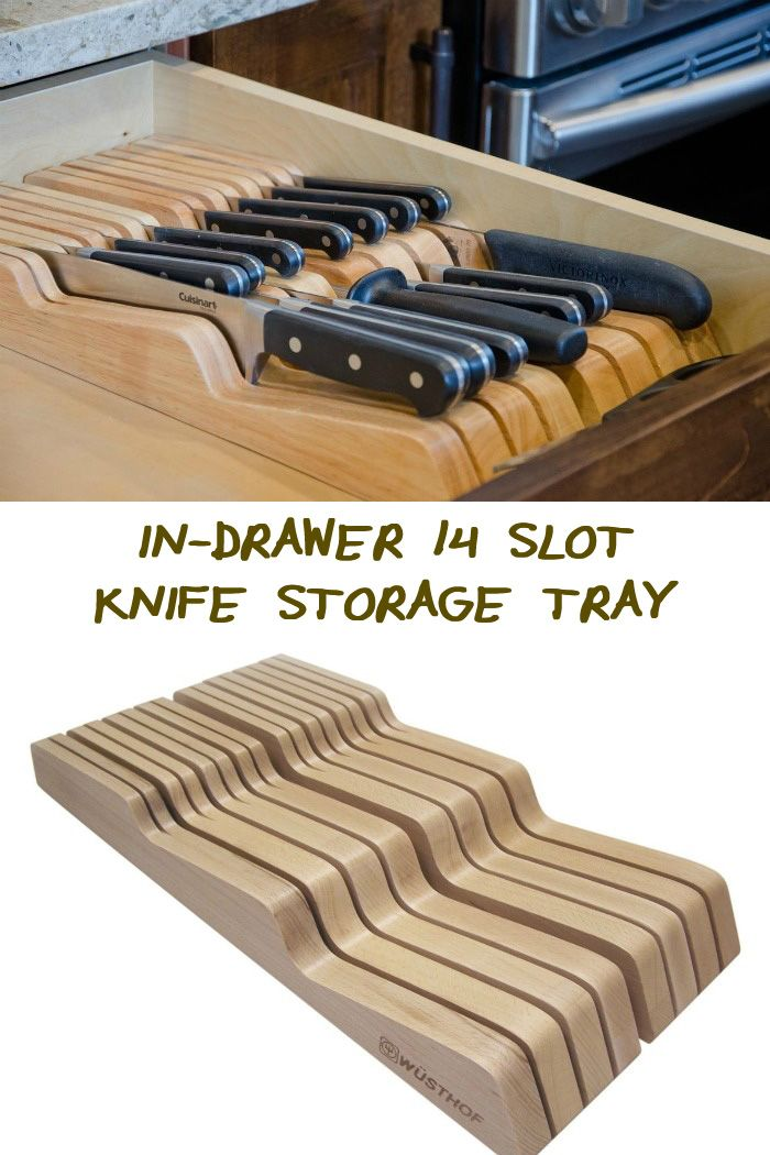 Do you need a better knife storage system?  This In-drawer 14 slot knife storage tray might just be what you need!