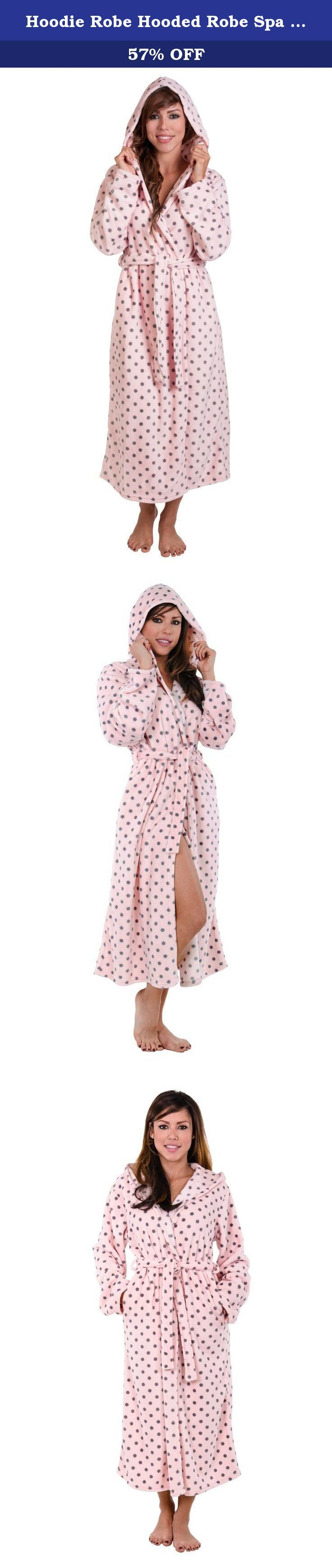 Hoodie Robe Hooded Robe Spa Bathrobe Hoody Robe Long Robe . This women & microfleece hooded bathrobe is made with a chic looking soft pink background with grey polka dot coral fleece fabric. Features include a wrap around waist tie and belt loops, two side pockets and a attached Hoodie. Easy going moments call for a robe like this: When you feel like lounging, wrap up in this cozy Hoody Robe and enjoy. Crafted from our special Micro Fleece soft brushed for exceptional softness, Machine…
