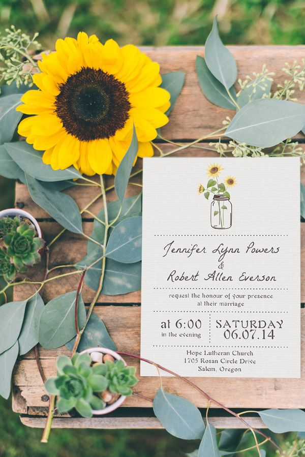 simple rustic wedding invitations with sunflower mason