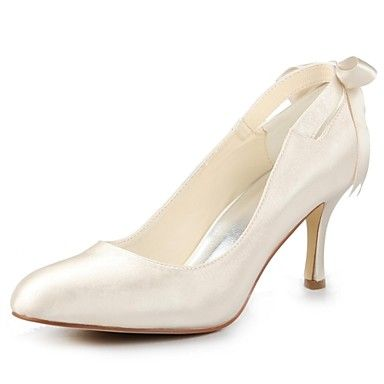 Rounded toe stiletto heels with an adorable bow tie in the back! Aren't they great to match your wedding dress??? Click for more details.