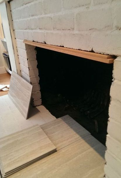 diy brick fireplace refacing, concrete masonry, concrete countertops, diy, fireplaces mantels, how to, living room ideas, Step 3 Tile Add thin layer of thinset mortar to our clean bricks