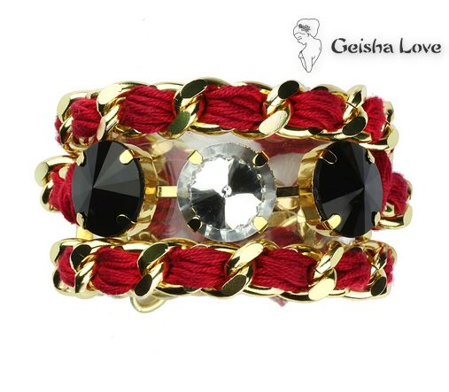 SNAKE collection bracelet with resin stone gold color chain, red cotton spun