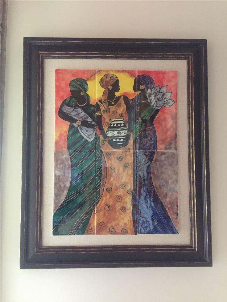 Afrikalı kadınlar çini tablom