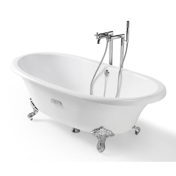 Baignoire rétro Roca sur pieds en fonte émaillée blanche. Associez-la avec un robinet sur pied design pour un ensemble très chic.