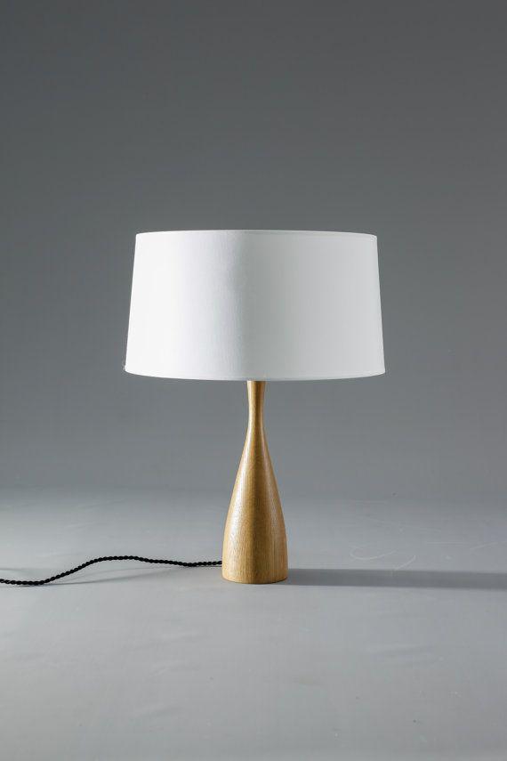 Medano wooden Table lamp oak wood, cotton shade, modern Scandinavian  Midcentury
