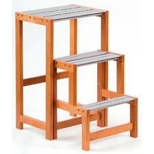Up and Down 3 Step Wooden Stepladder
