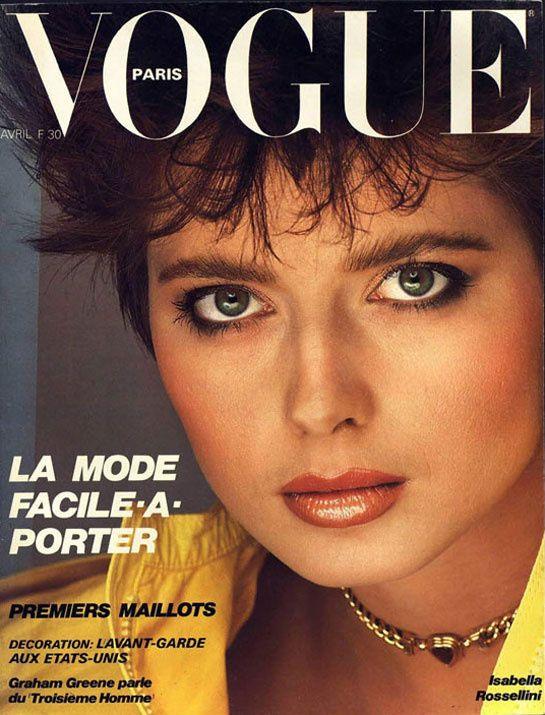 Isabella Rossellini pour le numéro d'avril 1982 de Vogue Paris: http://www.vogue.fr/photo/les-couvertures-de/diaporama/le-cinema-en-couverture-de-vogue-paris/7774/image/517016#isabella-rossellini-pour-le-numero-d-039-avril-1982-de-vogue-paris