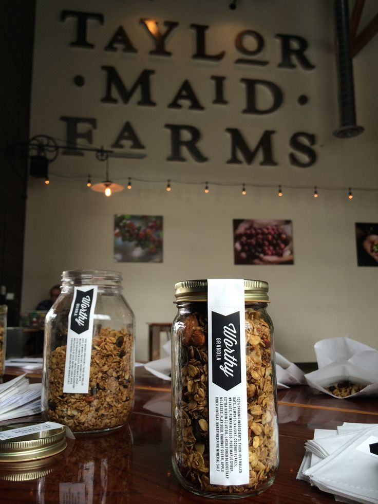 "Taylor Maid Farms | at The Barlow in Sebastopol | Relax (you're on ""Sonoma time"" now!), and enjoy some Worthy Granola for breakfast while you sip on organic coffee and enjoy the perfect weather. Already eat? Take a jar with you."