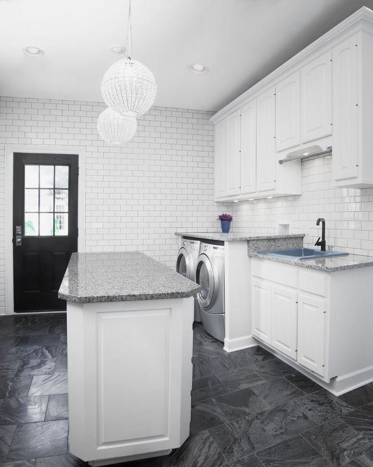 laundry-folding-table-Laundry-Room-Transitional-with-black-door-dryer-globe | beeyoutifullife.com