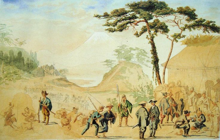 Bakufu troops near Mount Fuji in 1867. The painting by French officer Jules Brunet shows an eclectic combination of Western and Japanese equipment.