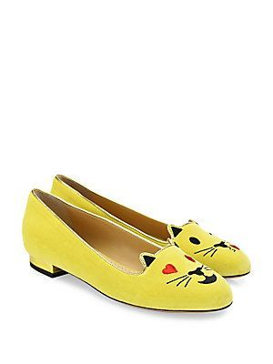 d1a8e75a96e Charlotte Olympia Velvet Flirty Emoticon Kitty Flats - Mellow Yellow ...