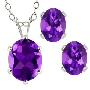 Purple oval amethyst sterling silver earrings and necklace set.