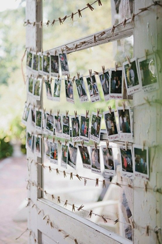 Idea for a reception or party, take classic polaroids of guests and hang on close pins as decoration.