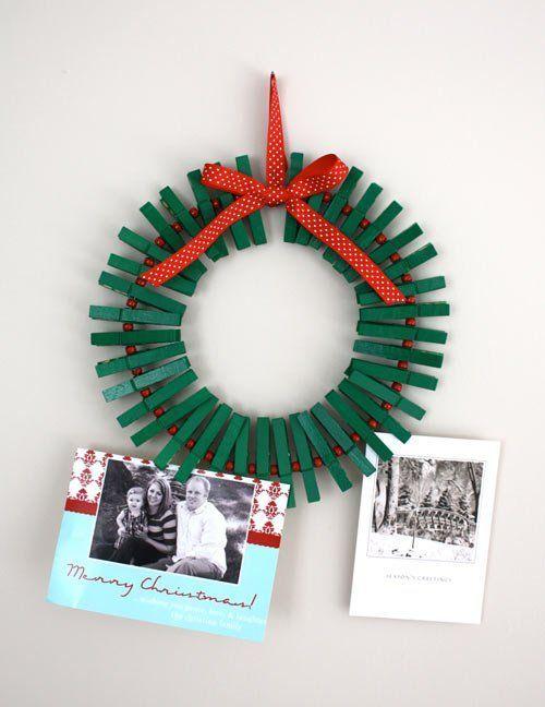 tutorial corona de navidad con pinzas de la ropa
