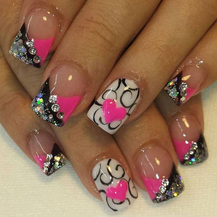 nice 48 Cute Black And Pink Nail Art Designs 2017 Ideas http://lovellywedding.com/2017/12/31/48-cute-black-pink-nail-art-designs-2017-ideas/