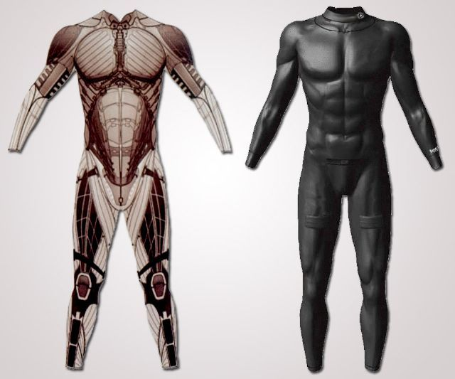 """AdrenaSuit - a full-length, bulletproof (and knife-proof) bodysuit with an internal system of """"veins"""" housing a magic potion of hormones and neurotransmitters that (supposedly) safely stimulate and maintain the wearer's fight-or-flight response for up to 30 minutes at a time."""