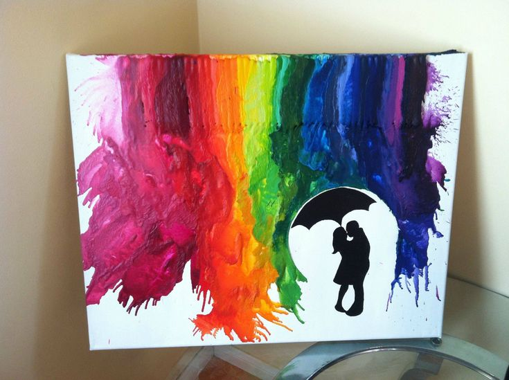 Super adorable twist on the very popular melted crayon art fad. I think I'd do it with just blues, though.